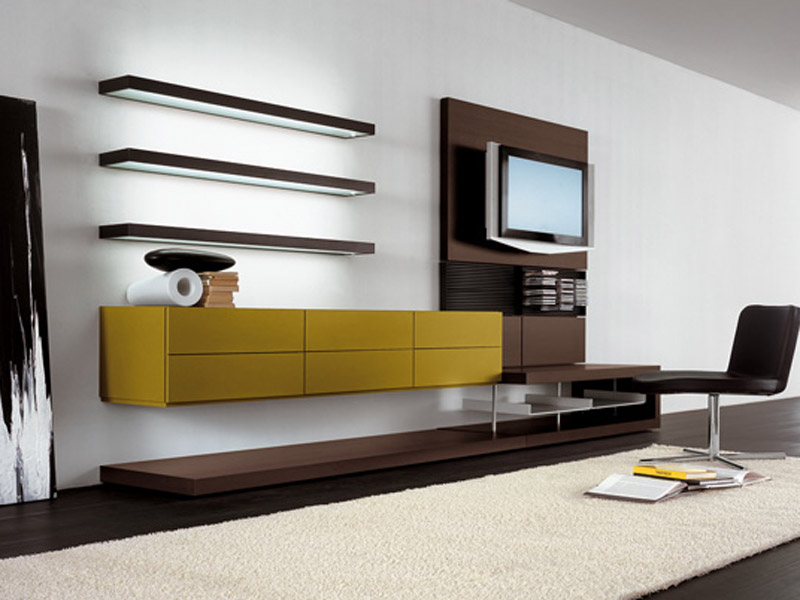 Modern Living Area PIANCA Dark Oak And Lacquered